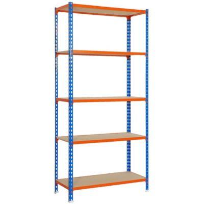 Kit Estantería MaderaClick Plus 5/300 Azul/Naranja/Madera