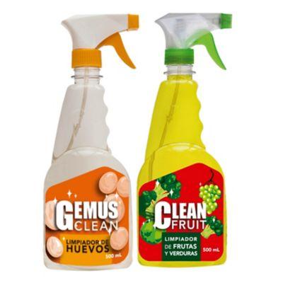 Limpiador Huevos Gemus Clean 500 ml + Lavador de Frutas y Verduras Clean Fruv 500 ml