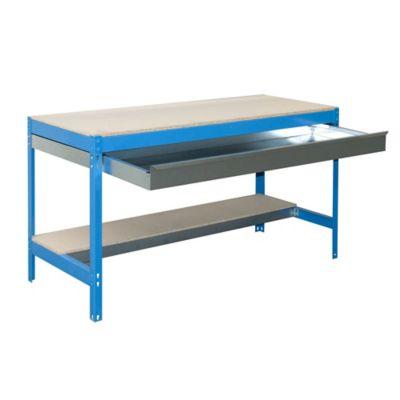 Banco de Trabajo con Cajón Bt0 Box 1200 Azul/Madera Carga Máx. 600 Kgs