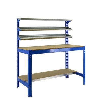 Banco de Trabajo con Estantería Bt1 1200 Azul/Madera Carga Máx. 600 Kgs