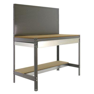 Banco de Trabajo con Panel Click y Cajón Bt2 Box 1200 Gris/Madera Carga Máx. 600 Kgs