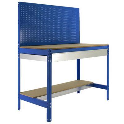 Banco de Trabajo con Panel Click y Cajón Bt2 Box 1200 Azul/Madera Carga Máx. 600 Kgs