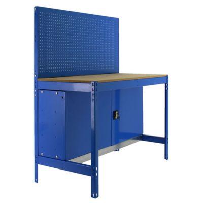 Banco de Trabajo con Panel Click y Almacenamiennto Bt2 Locker 900 Azul/Madera Carga Máx. 400 Kgs