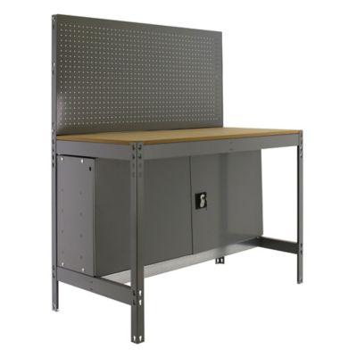 Banco de Trabajo con Panel Click y Almacenamiennto Bt2 Locker 1200 Gris/Madera Carga Máx. 600 Kgs