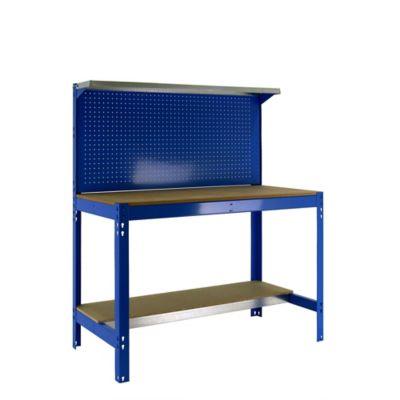 Banco de Trabajo con Panel Click y Estantería Superior Bt3 1500 Azul/Madera Carga Máx. 600 Kgs