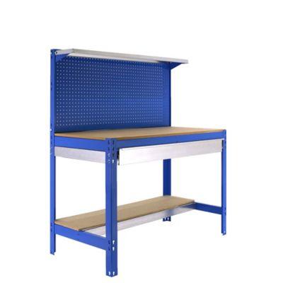 Banco de Trabajo + Panel Click + Estantería + Cajón Bt3 Box 1200 Azul/Madera Carga Máx. 600 Kgs