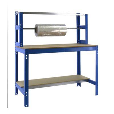 Banco de Trabajo para Embalar + Estantería Bt4 1200 Azul/Madera Carga Máx. 600 Kgs