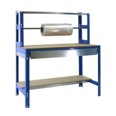 Banco de Trabajo para Embalar + Estantería + Cajón Bt4 Box 1200 Azul/Madera Carga Máx. 600 Kgs