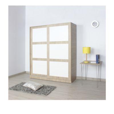 Armario Atena 2 Puertas 2 Cajones 180x150x50 Rovere Blanco