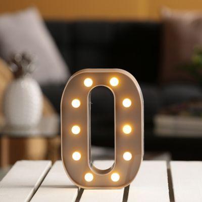 Lámpara Decorativa  Letra O Gris