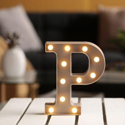 Lámpara Decorativa  Letra P Gris