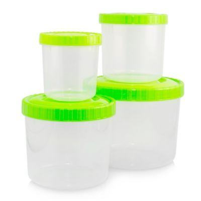 Set x4 Recipientes para Almacenar con Tapa Rosca Verde