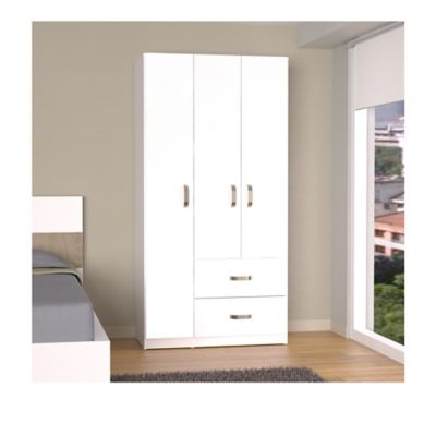 Armario 3 Puertas 2 Cajones 180x90,8x50cm Blanco