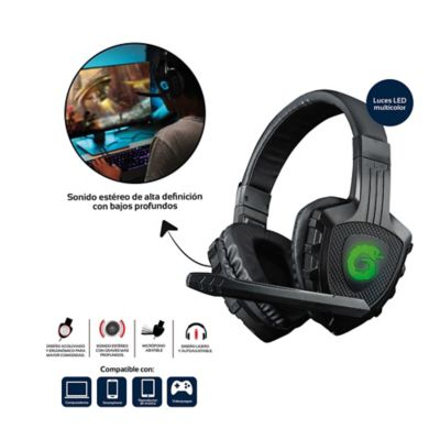 Audífonos Gamer Neon Control Volumen Con Micrófono Abatible