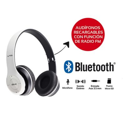Radio Audífonos Recargables Bluetooth Blanco