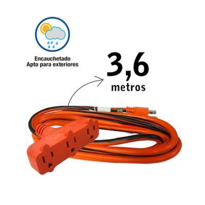 Extensión Eléctrica 3.6mt 3 Salidas P/T Cal14-SJTW Uso Interior y Exterior
