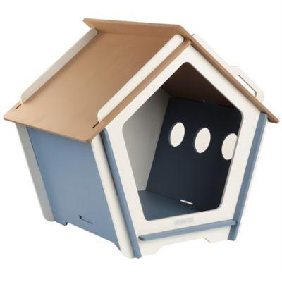 Casa Para Perro Mediana Azul y Blanco