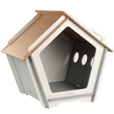 Casa Para Perro Mediana Gris y Blanco