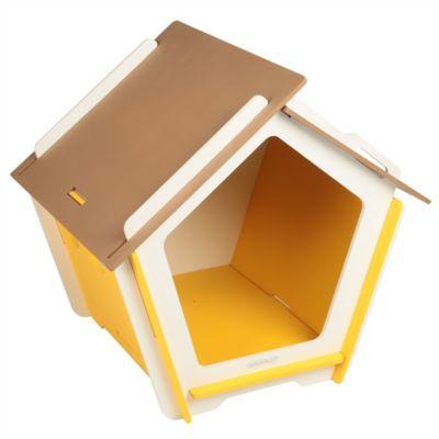 Casa Para Perro Mediana Amarillo y Blanco