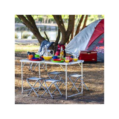 Set Mesa Plegable Camping Con Bancas