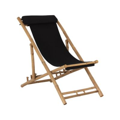 Silla Madera Tela Playera Buque Natural/Negro