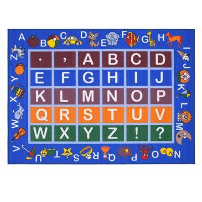 Tapete Educacional Alfabeto 221x160 Azul