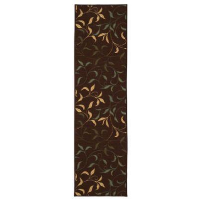 Tapete Diseño con Hojas 149x50 cm Chocolate