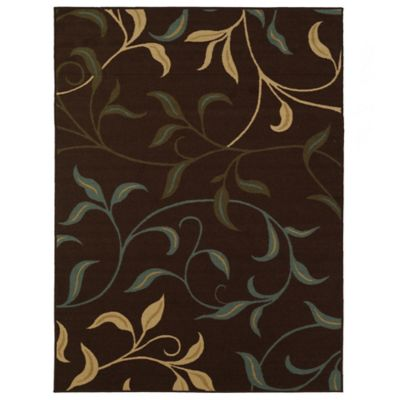Tapete Diseño con Hojas 152x99 cm Chocolate