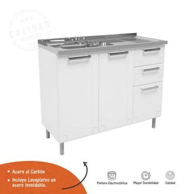 Mueble Inferior Para Cocina 2 Cajónes 105 cm x 43.2 cm x 85.3 cm Con Mesón Multipla Blanco