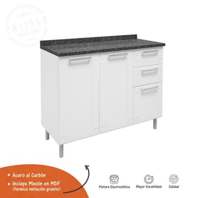 Mueble Inferior Para Cocina Multipla Blanco 2 Cajones 105 cm Ancho x 43.2 cm Fondo x 85.3 cm Alto Mesón Negro