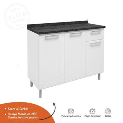 Mueble Inferior Para Cocina 1 Cajón 105 cm x 43.2 cm x 85.3 cm Mesón Multipla Blanco