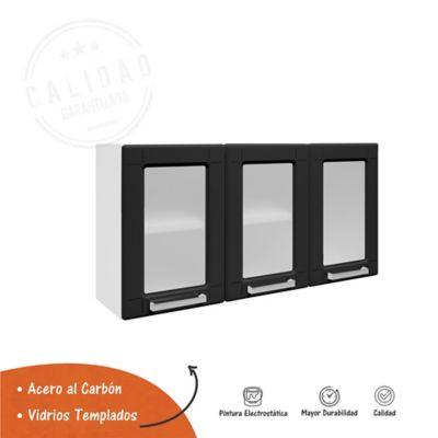 Mueble Superior Para Cocina 105 cm x 28.3 cm x 52.5 cm Con Vidrio Multipla Negro
