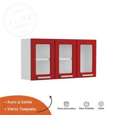 Mueble Superior Para Cocina 105 cm x 28.3 cm x 52.5 cm Con Vidrio Multipla Rojo
