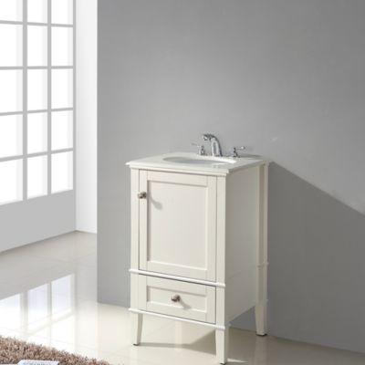 Mueble con Lavamanos Bombay Blanco 20pulg 53.3 Ancho x 48.3cm Fondo x 87.6 Alto Superficie en Marmol Blanco