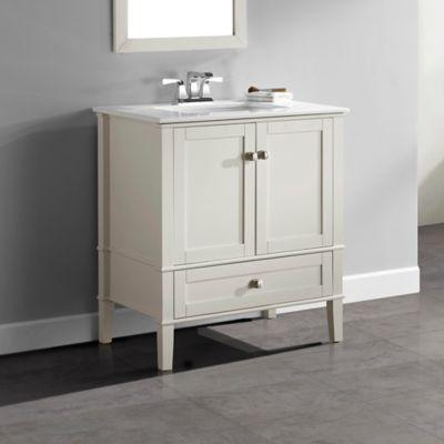 Mueble con Lavamanos Chelsea Blanco 30pulg 78.7cm Ancho x 54.6cm Fondo x 88.2 Alto Superficie en Marmol Blanco