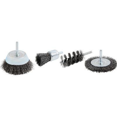 Set Cepillos de alambre de acero para taladro 4Pzas