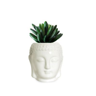 Arreglo Buda Ceramica Y Suculentas Artificiales
