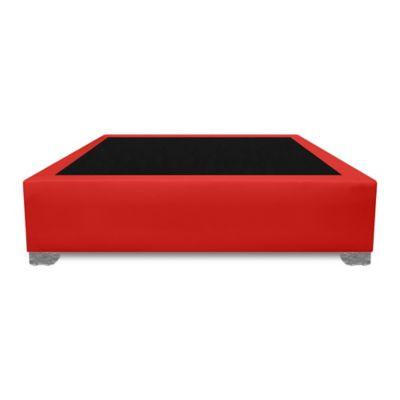 Base Cama Premium Top Semidoble 120x190cm Ecocuero Rojo