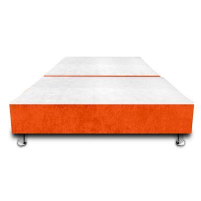 Base Cama Dividida con Colchoneta Incorporada Semidoble 120x190cm Microfibra Naranja