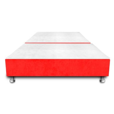 Base Cama Dividida con Colchoneta Incorporada Semidoble 120x190cm Microfibra Rojo