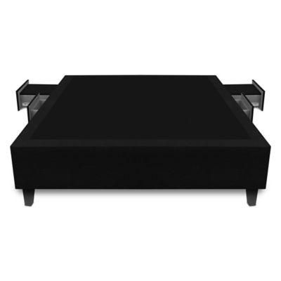 Base Cama Multifuncional Semidoble 120x190cm Ecocuero Negro