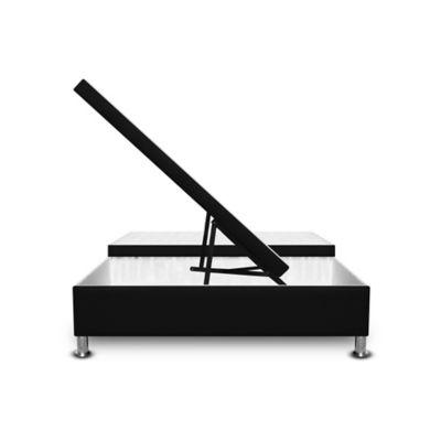 Cama Baúl Dividida 120x190cm Ecocuero Negro