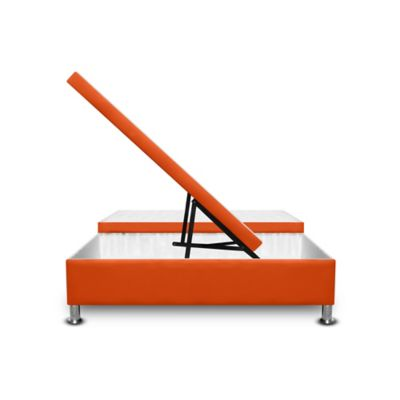 Cama Baúl Dividida 120x190cm Microfibra Naranja