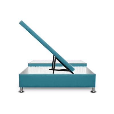 Cama Baúl Dividida 120x190cm Microfibra Azul