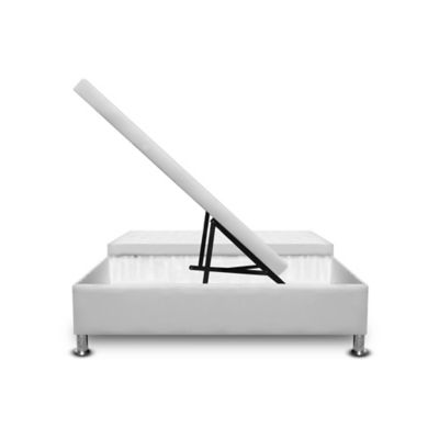 Cama Baúl Dividida 120x190cm Microfibra Blanco