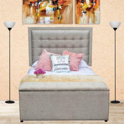 Combo Lujo Advance Pillow Semidoble 120x190cm Tela Beige (Base Cama + Cabecero + Colchón Plus + Puff Baúl)