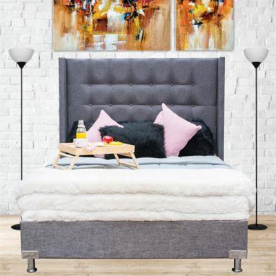 Combo Luxury Doble Pillow Queen 160x190cm Tela Gris (Base Cama + Cabecero + Colchón Primavera Doble Pillow)