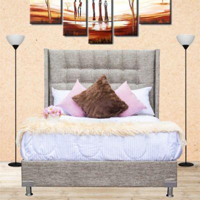 Combo Luxury Doble Pillow Queen 160x190cm Tela Café (Base Cama + Cabecero + Colchón Confort Vital Primavera Doble Pillow)