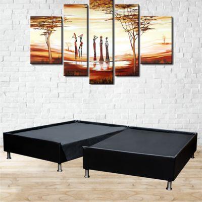 Base Cama Doble 140x190cm Pestaña Dividida Cuero Sintético Negro