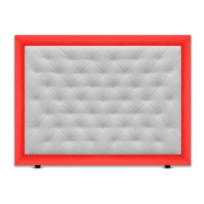 Cabecero para Cama Sencilla Landring de Piso 90x120cm Ecocuero Rojo/Blanco